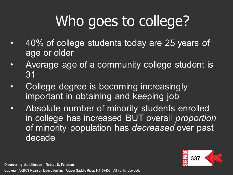 Who goes to college 40% of college students today are 25 years of age or older. Average age of a community college student is 31.