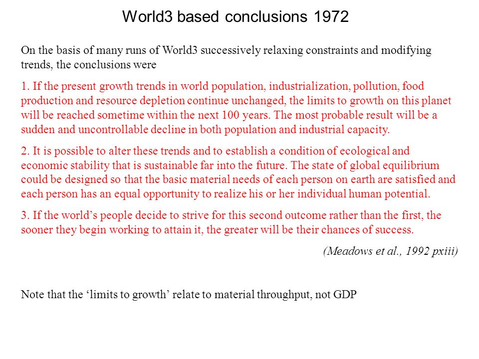 World3 based conclusions 1972