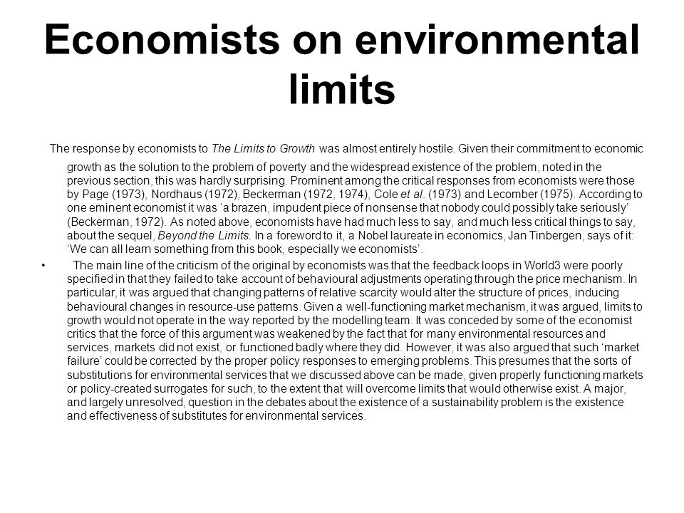 Economists on environmental limits