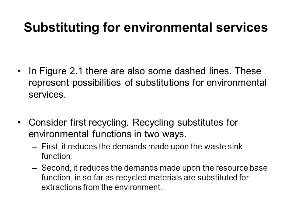 Substituting for environmental services