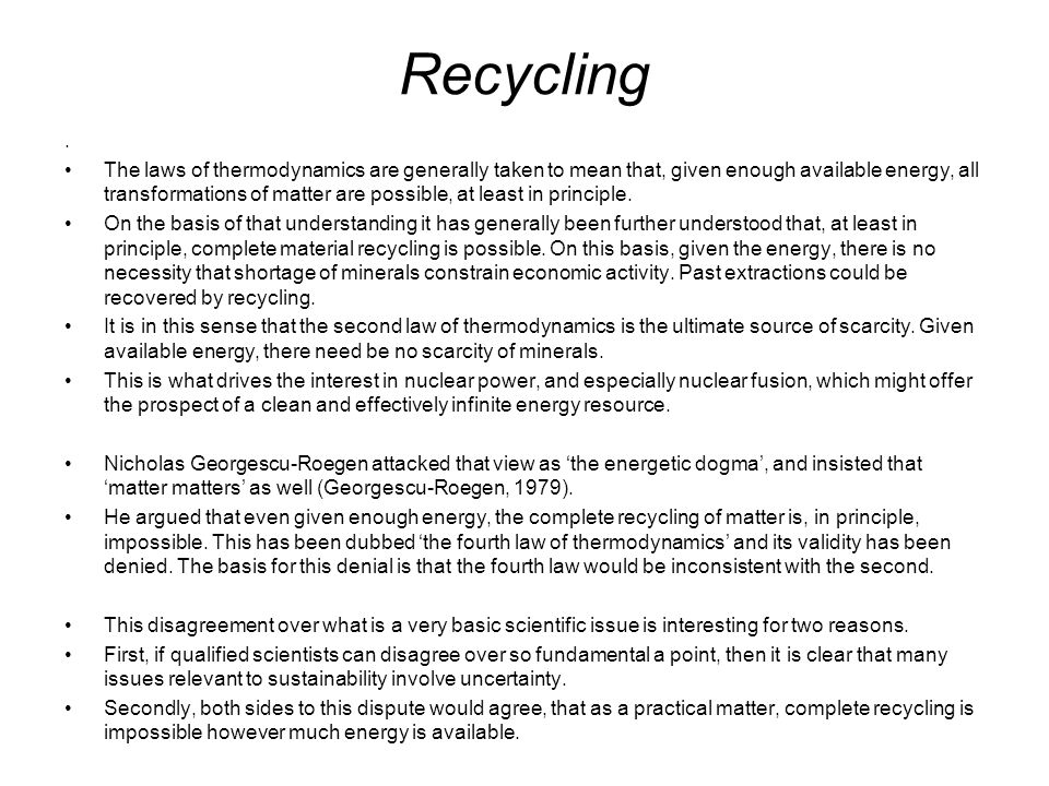 Recycling .