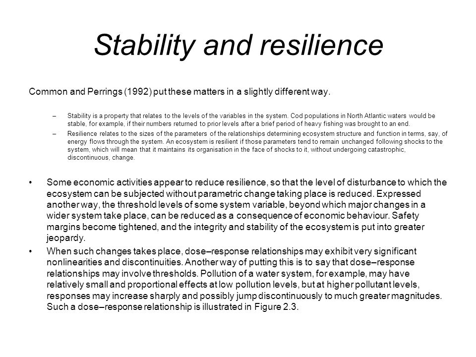 Stability and resilience