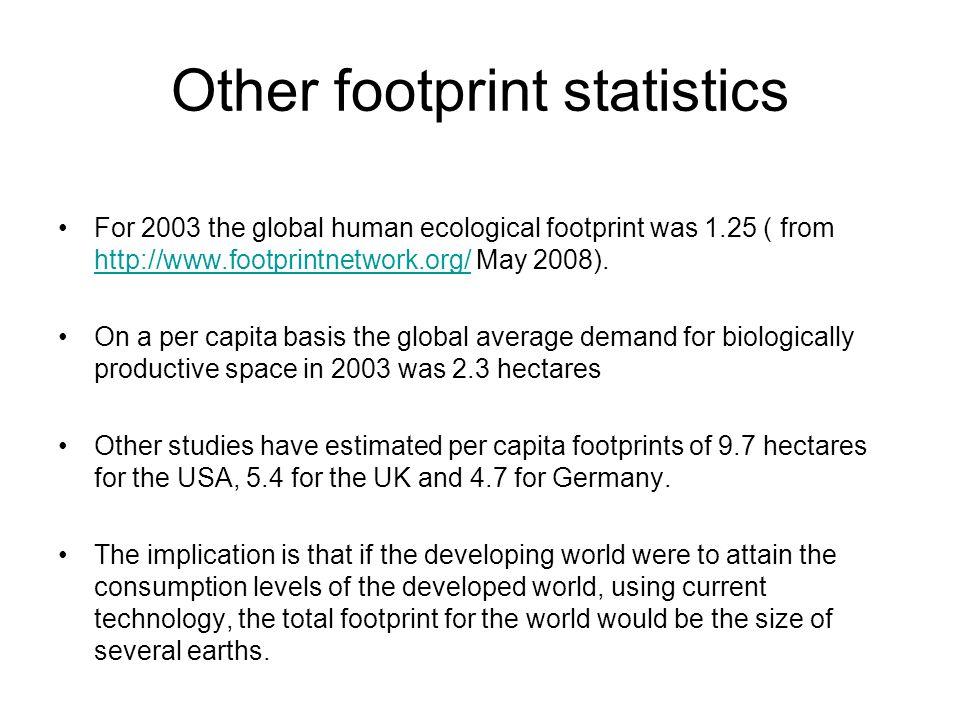 Other footprint statistics