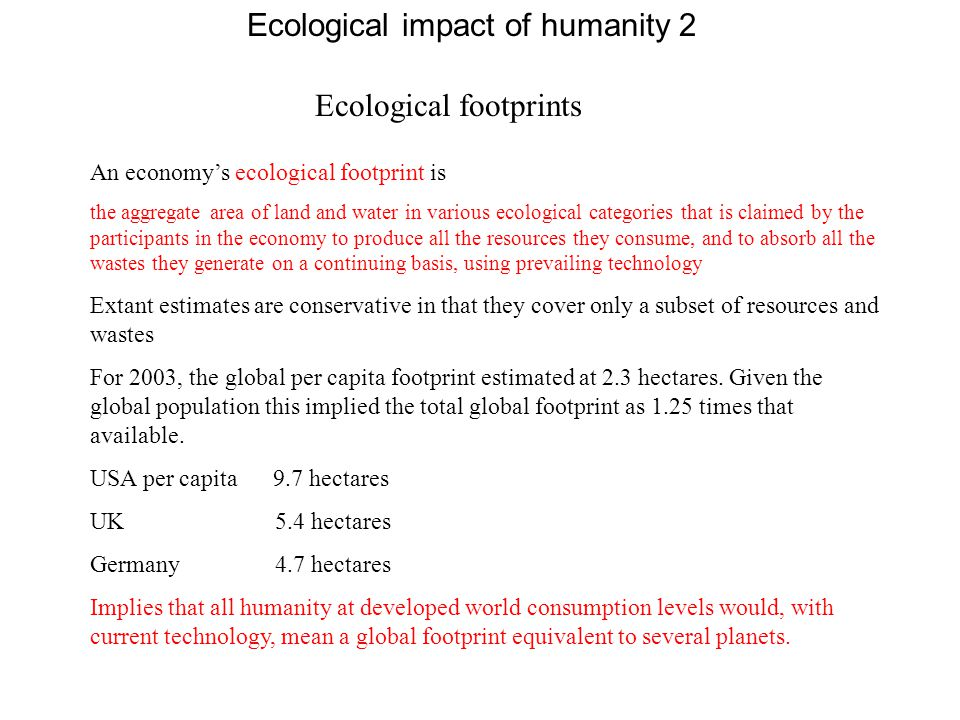 Ecological impact of humanity 2