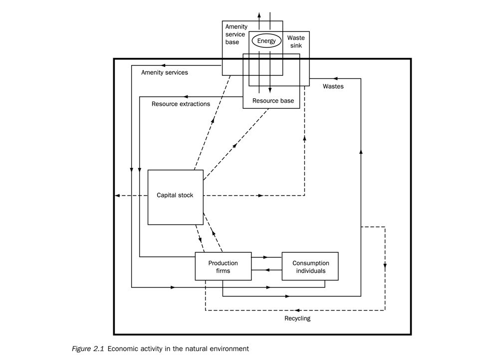 Figure 2.1 is a schematic representation of the two-way relationships between the economy and the environment.