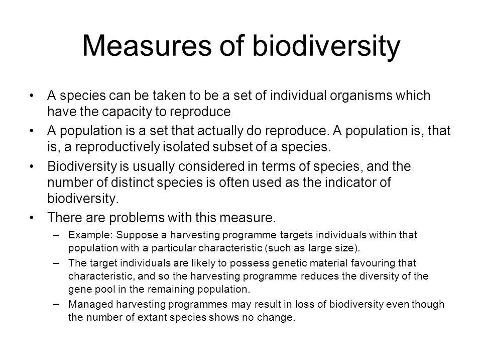 Measures of biodiversity