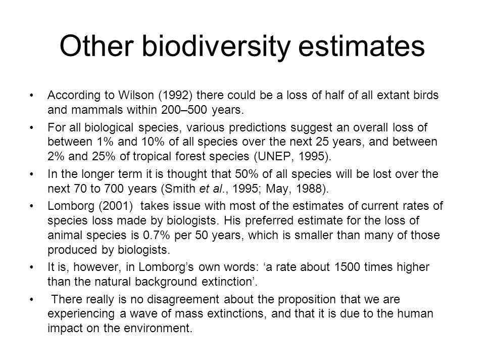 Other biodiversity estimates