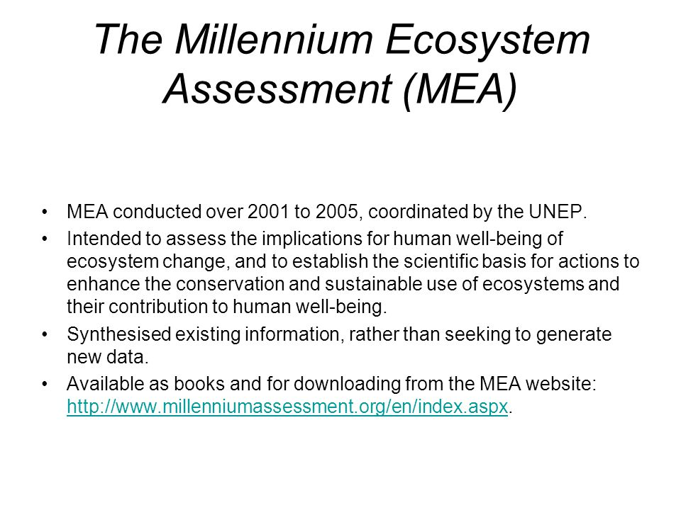 The Millennium Ecosystem Assessment (MEA)