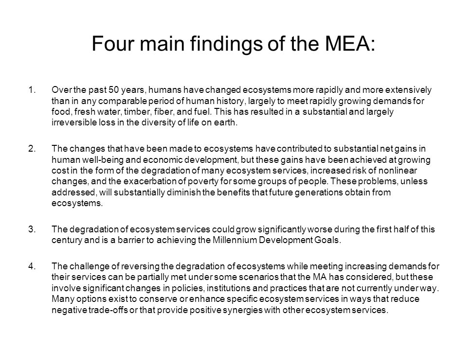 Four main findings of the MEA: