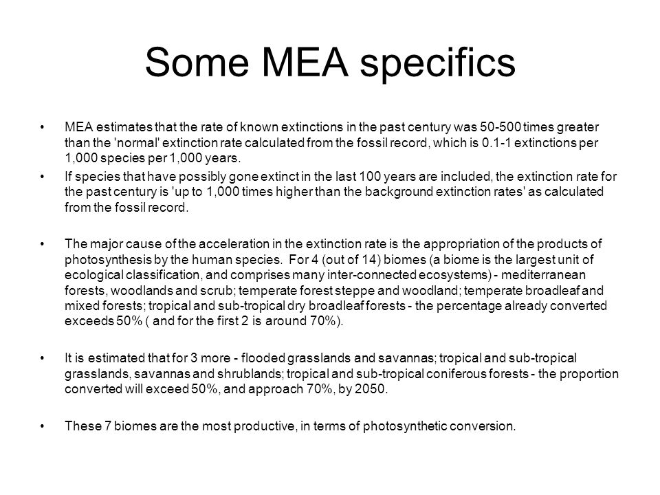 Some MEA specifics