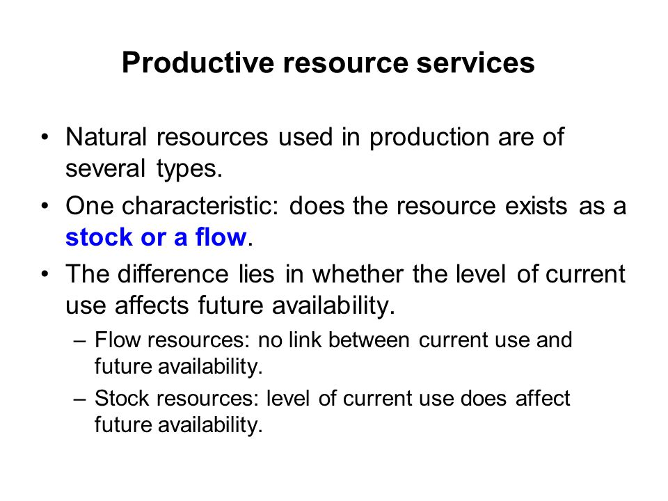 Productive resource services