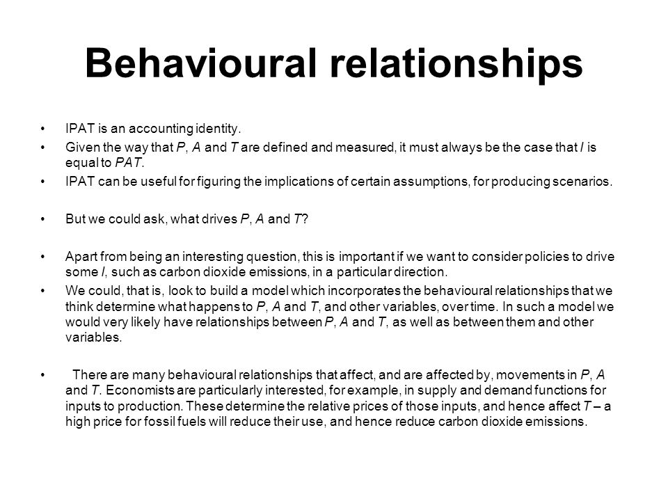 Behavioural relationships