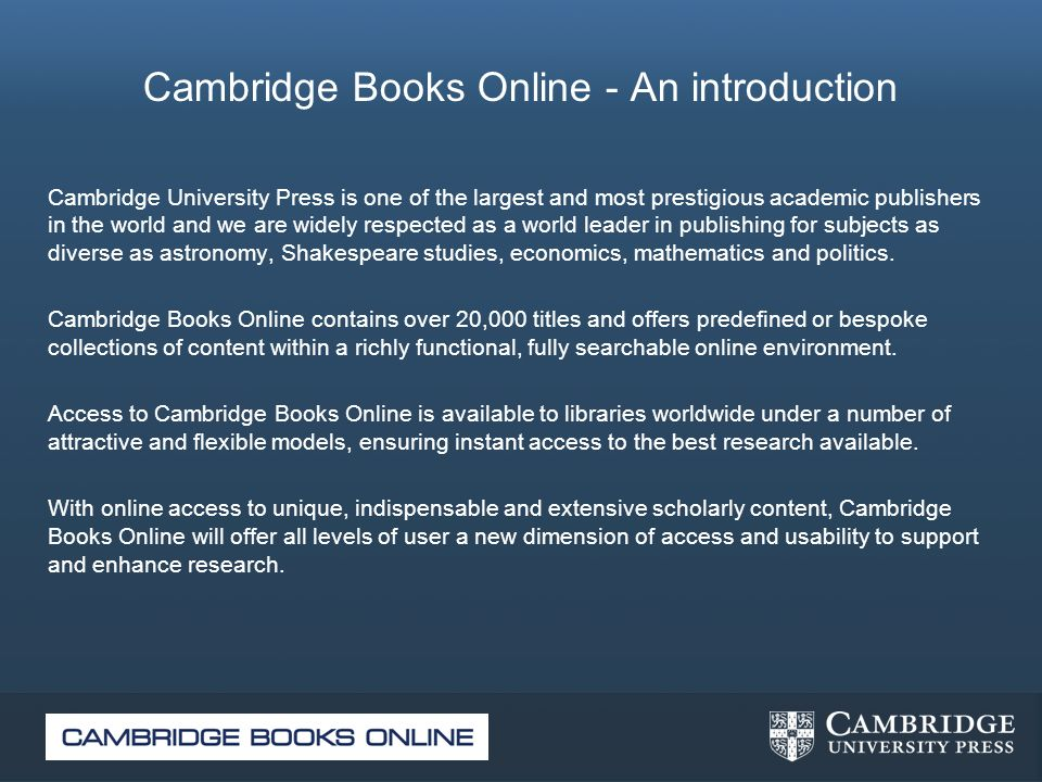 Cambridge Books Online - An introduction