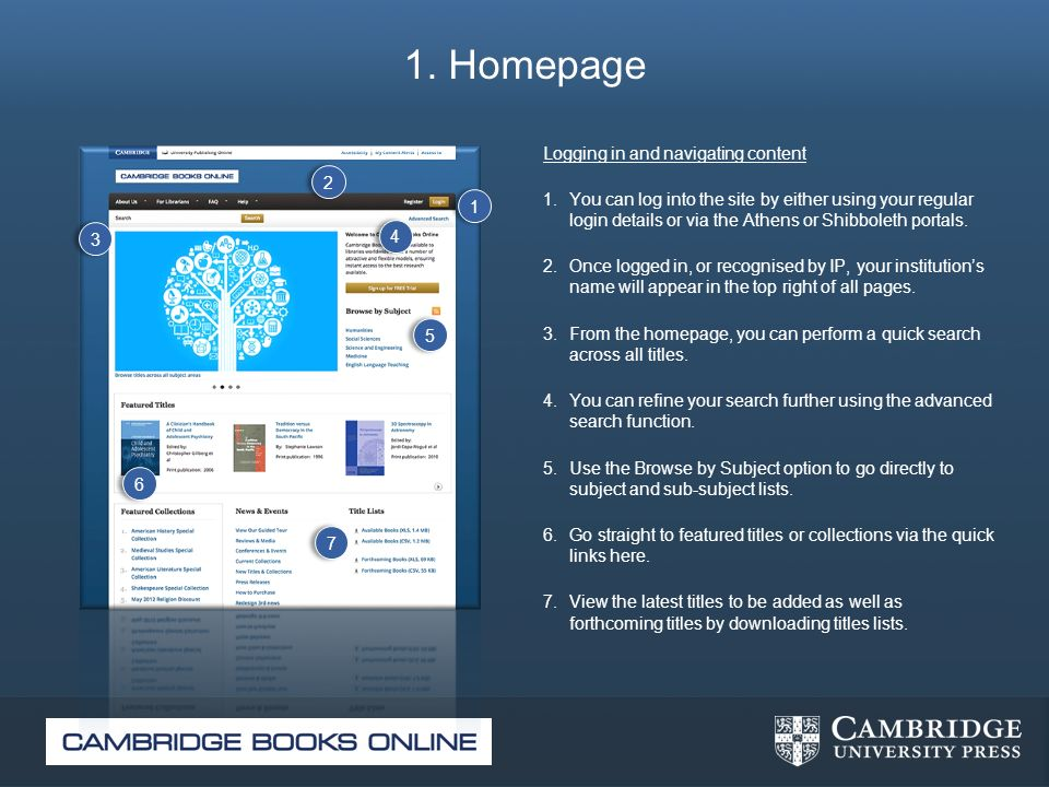 1. Homepage Logging in and navigating content