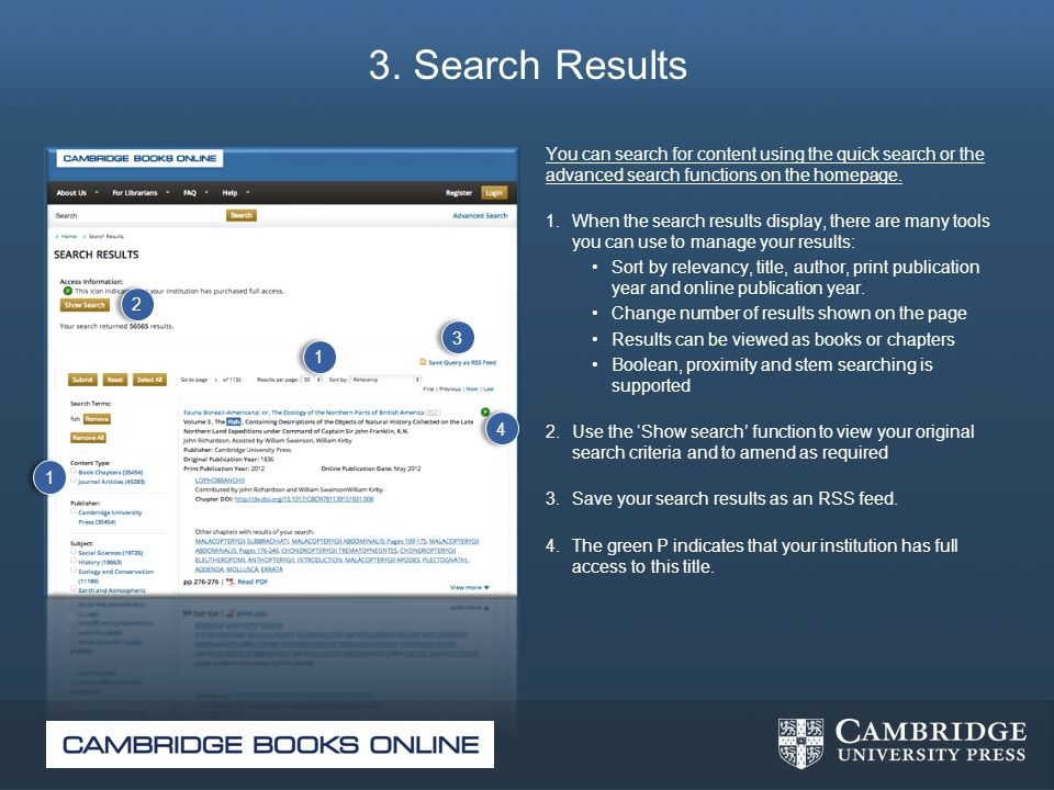 3. Search Results You can search for content using the quick search or the advanced search functions on the homepage.