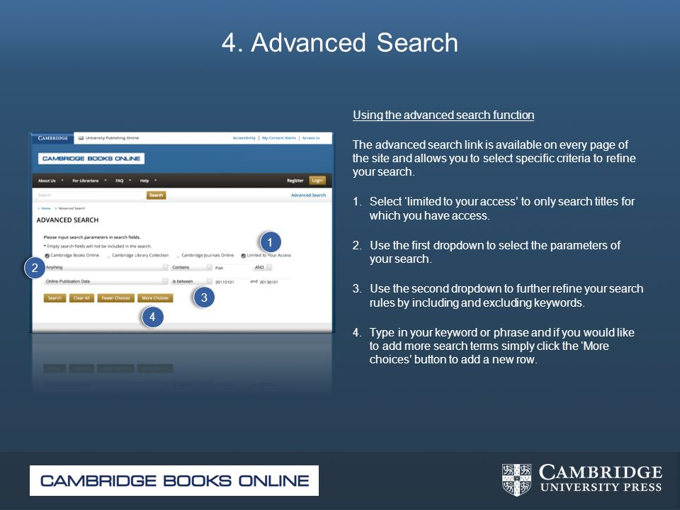 4. Advanced Search Using the advanced search function