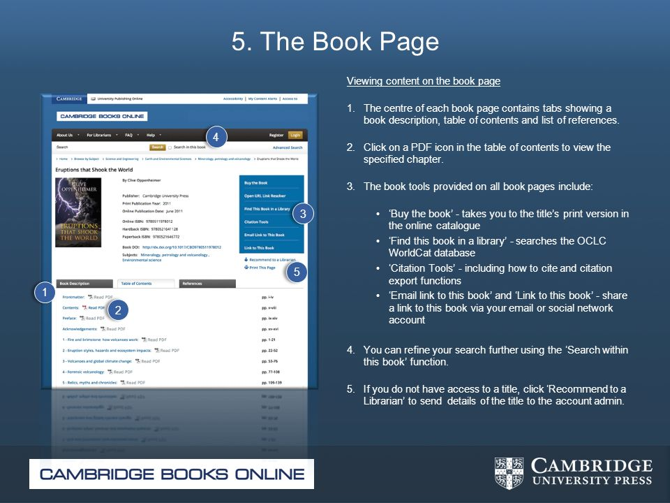 5. The Book Page Viewing content on the book page