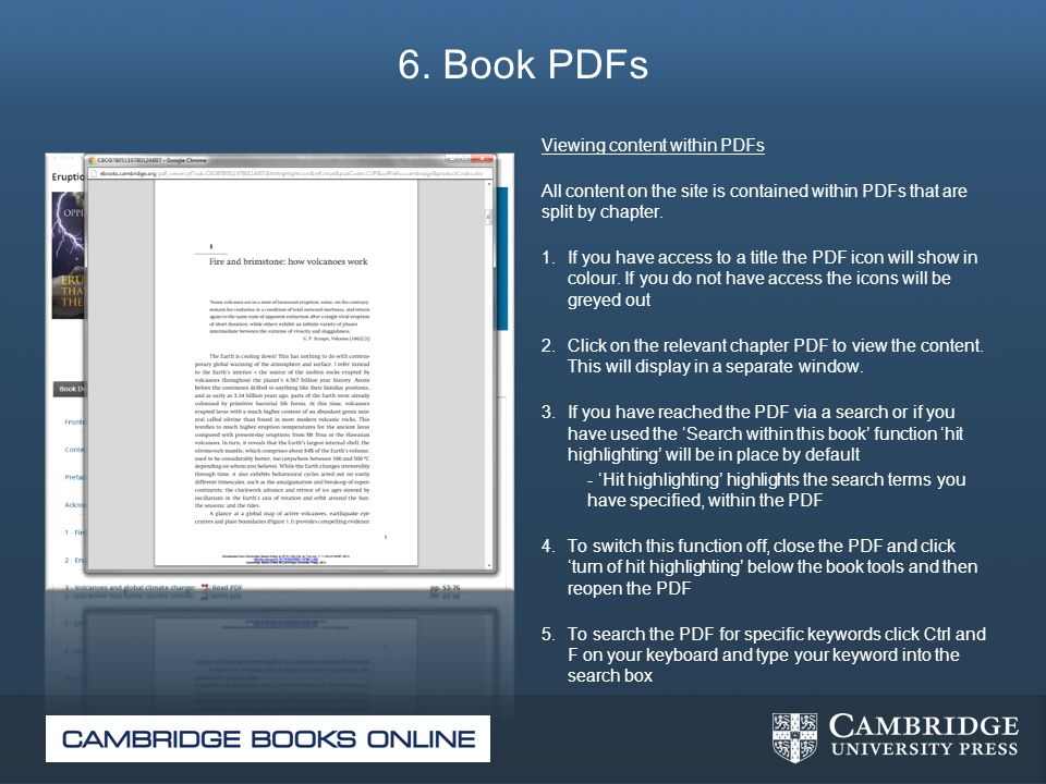 6. Book PDFs Viewing content within PDFs