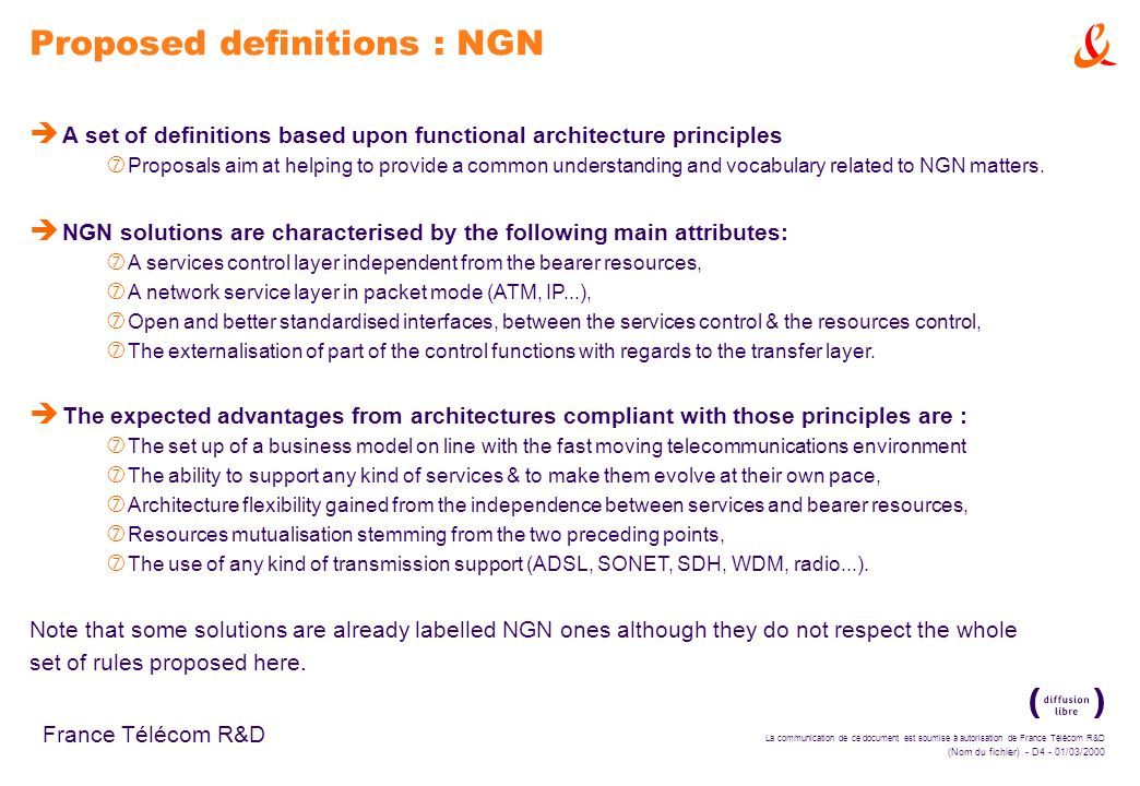 Proposed definitions : NGN