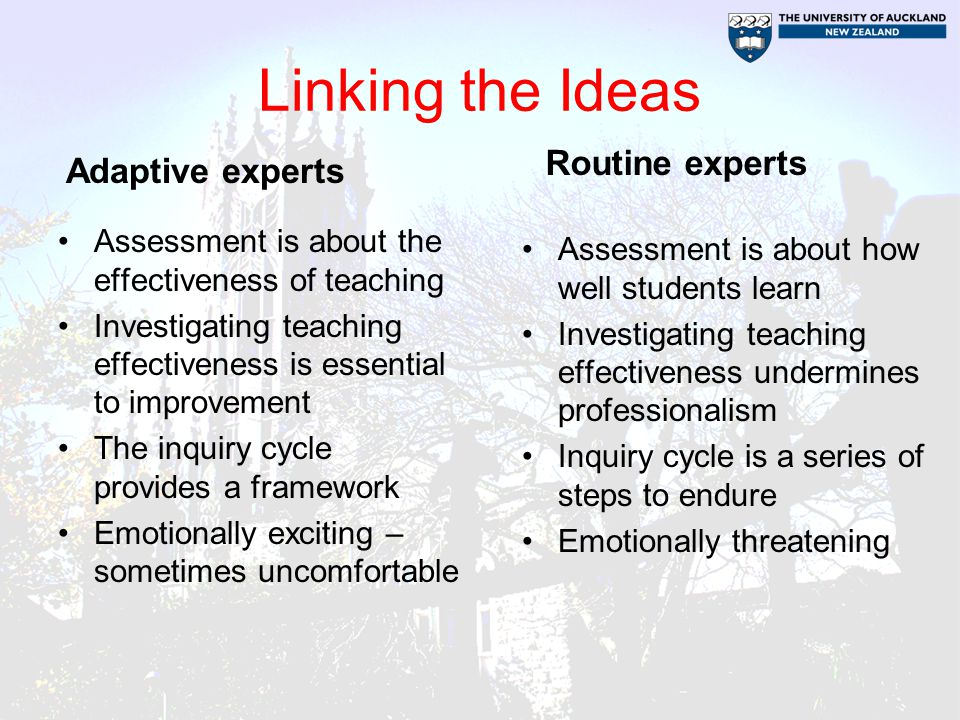 Linking the Ideas Routine experts Adaptive experts