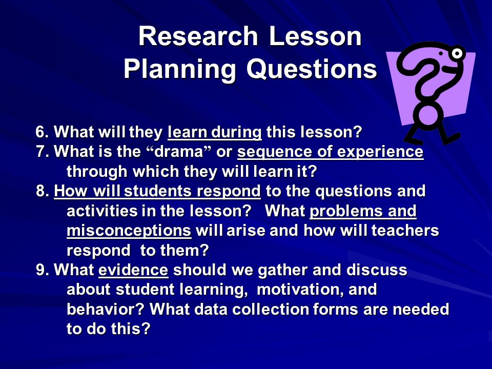 Research Lesson Planning Questions