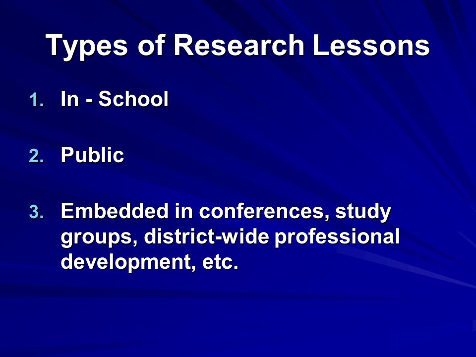 Types of Research Lessons