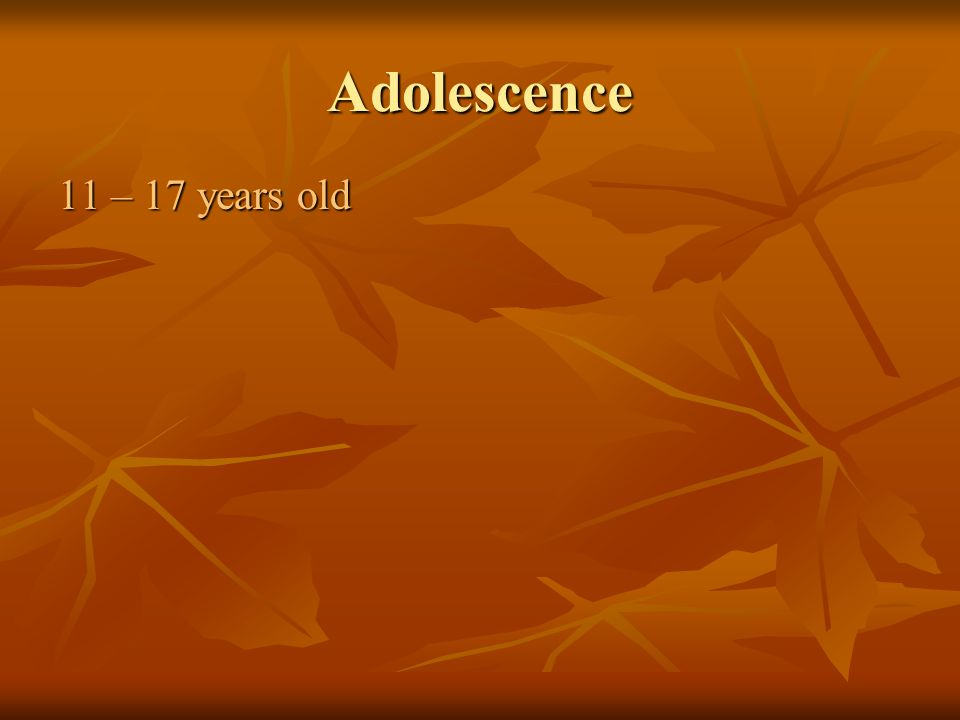 Adolescence 11 – 17 years old