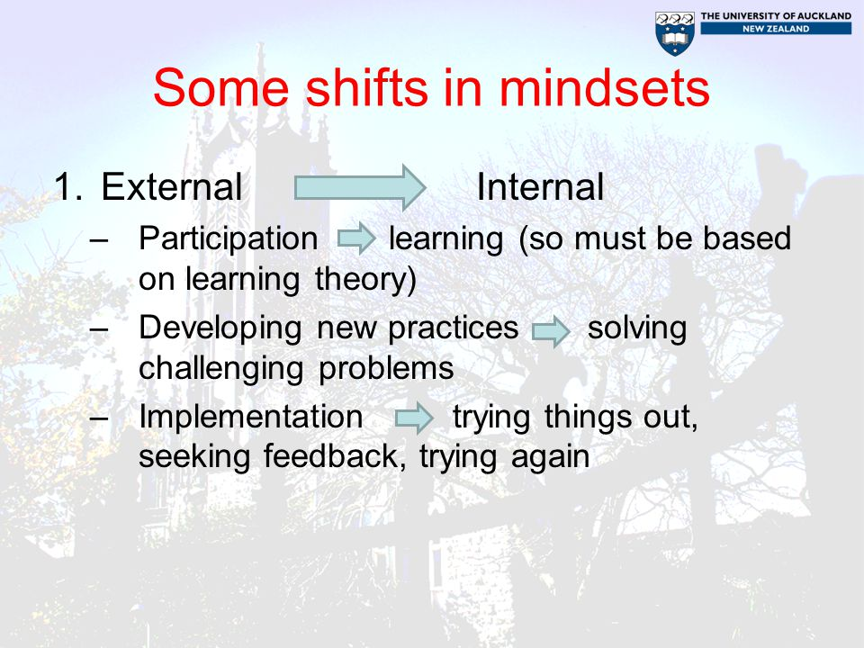 Some shifts in mindsets