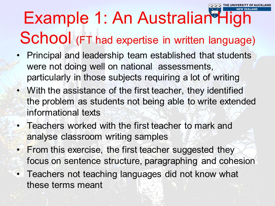Example 1: An Australian High School (FT had expertise in written language)
