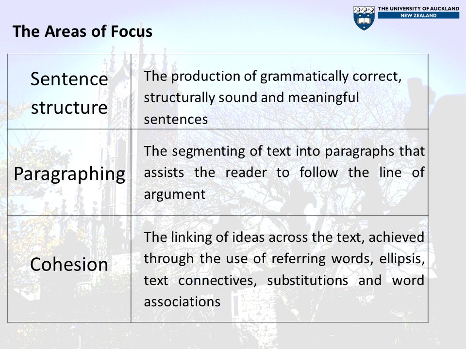 Sentence structure Paragraphing Cohesion The Areas of Focus