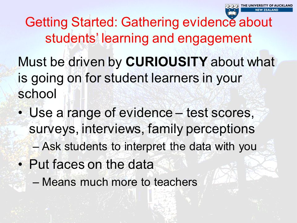 Getting Started: Gathering evidence about students' learning and engagement