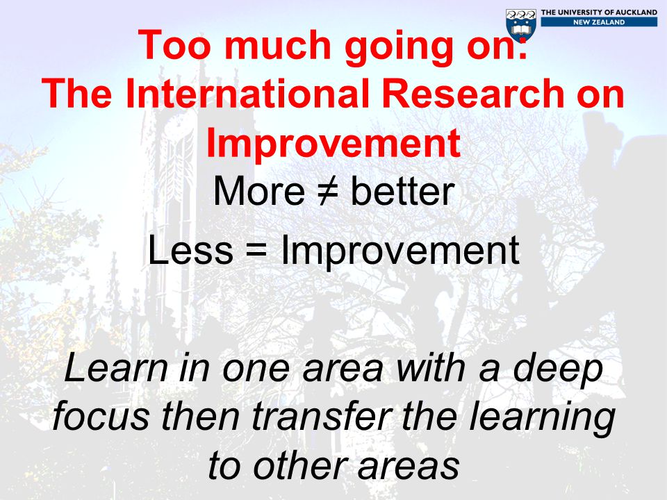 Too much going on: The International Research on Improvement