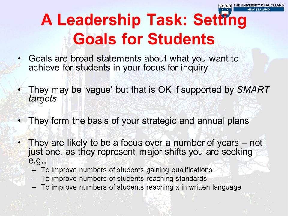 A Leadership Task: Setting Goals for Students