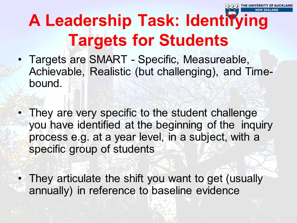 A Leadership Task: Identifying Targets for Students