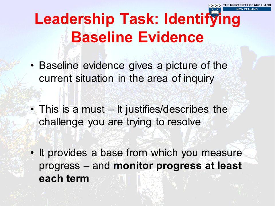 Leadership Task: Identifying Baseline Evidence