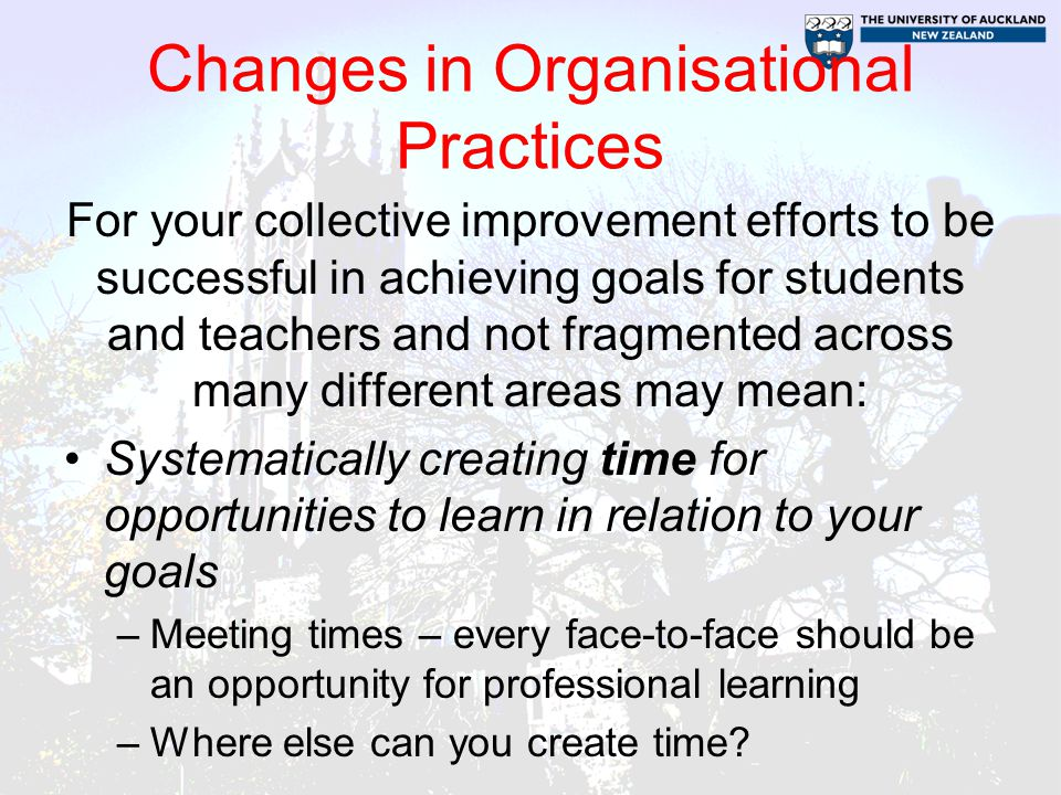 Changes in Organisational Practices