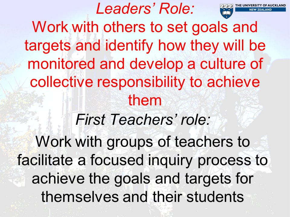 Leaders' Role: Work with others to set goals and targets and identify how they will be monitored and develop a culture of collective responsibility to achieve them