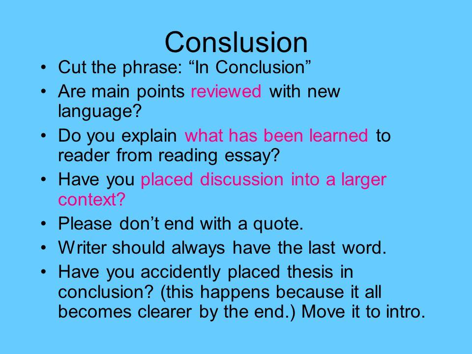 In Conclusion Essay