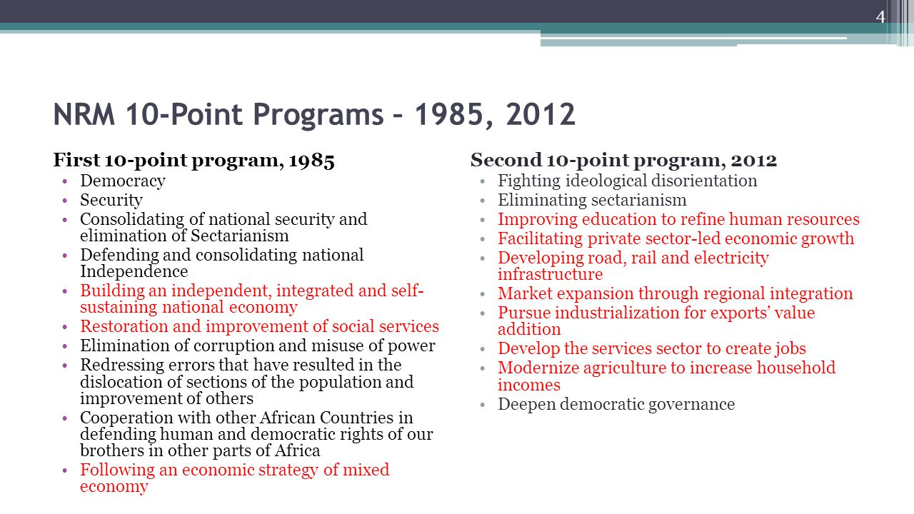 NRM 10-Point Programs – 1985, 2012 First 10-point program, 1985