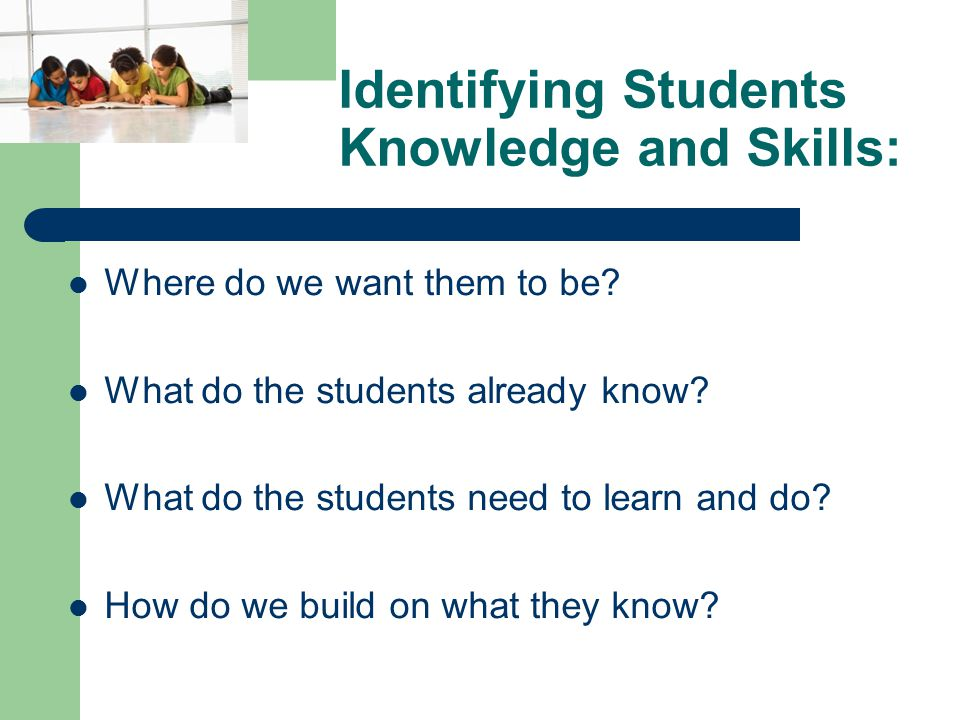 Identifying Students Knowledge and Skills: