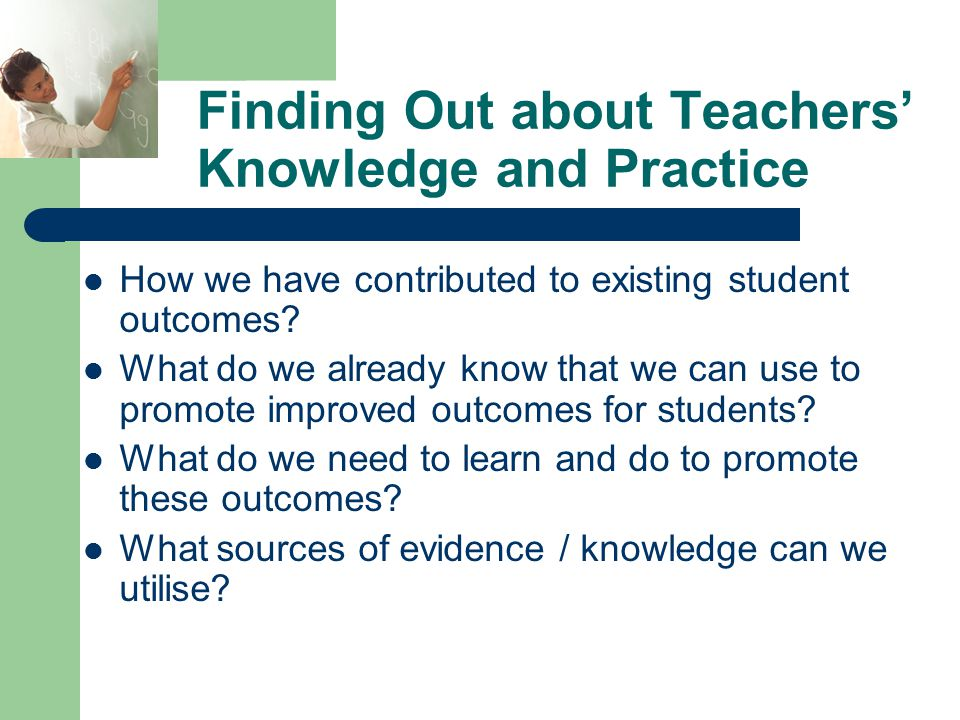 Finding Out about Teachers' Knowledge and Practice