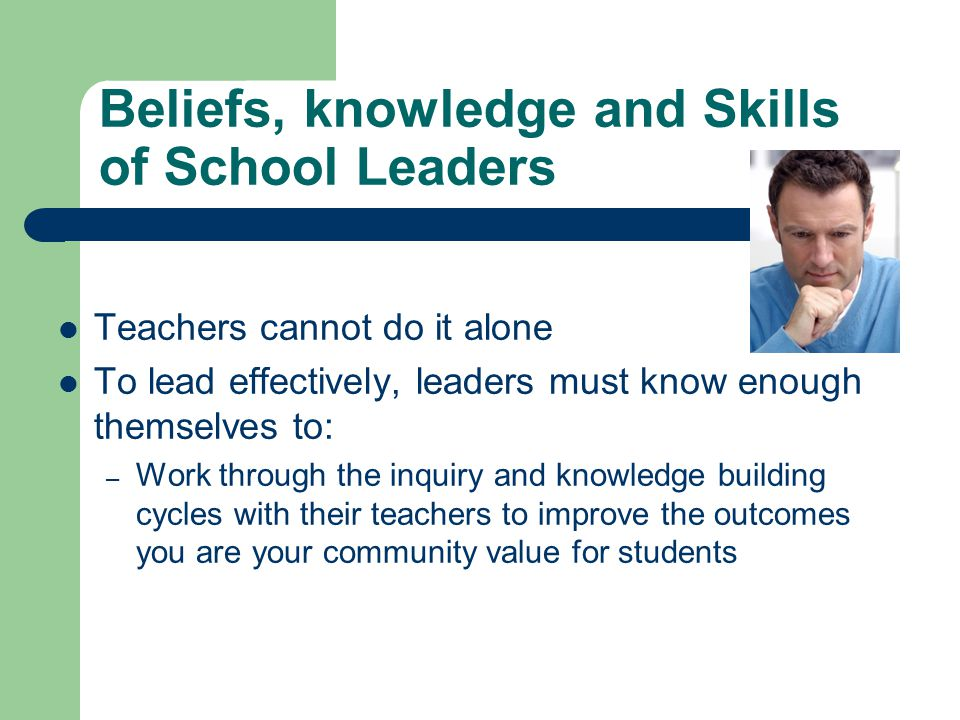 Beliefs, knowledge and Skills of School Leaders