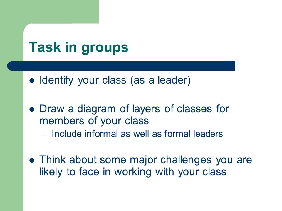 Task in groups Identify your class (as a leader)