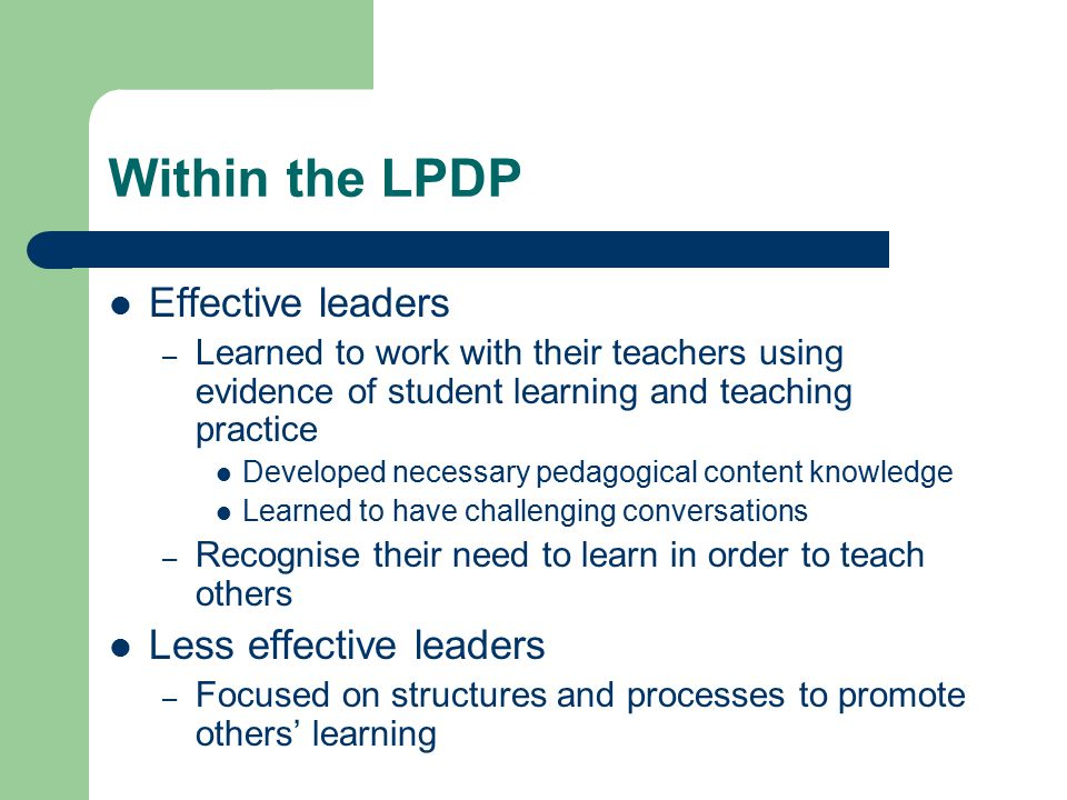 Within the LPDP Effective leaders Less effective leaders