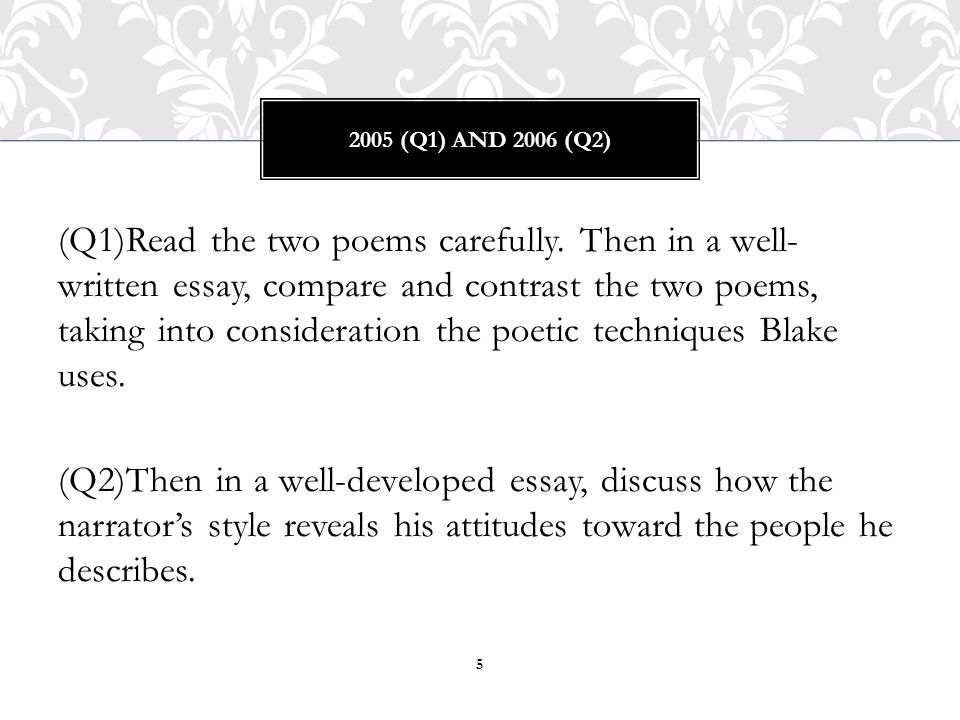 a comparison between two complementary poems essay Sample compare-contrast essay outline a study of these two men in this regard reveals some really significant differences about the worldview in the two poems.