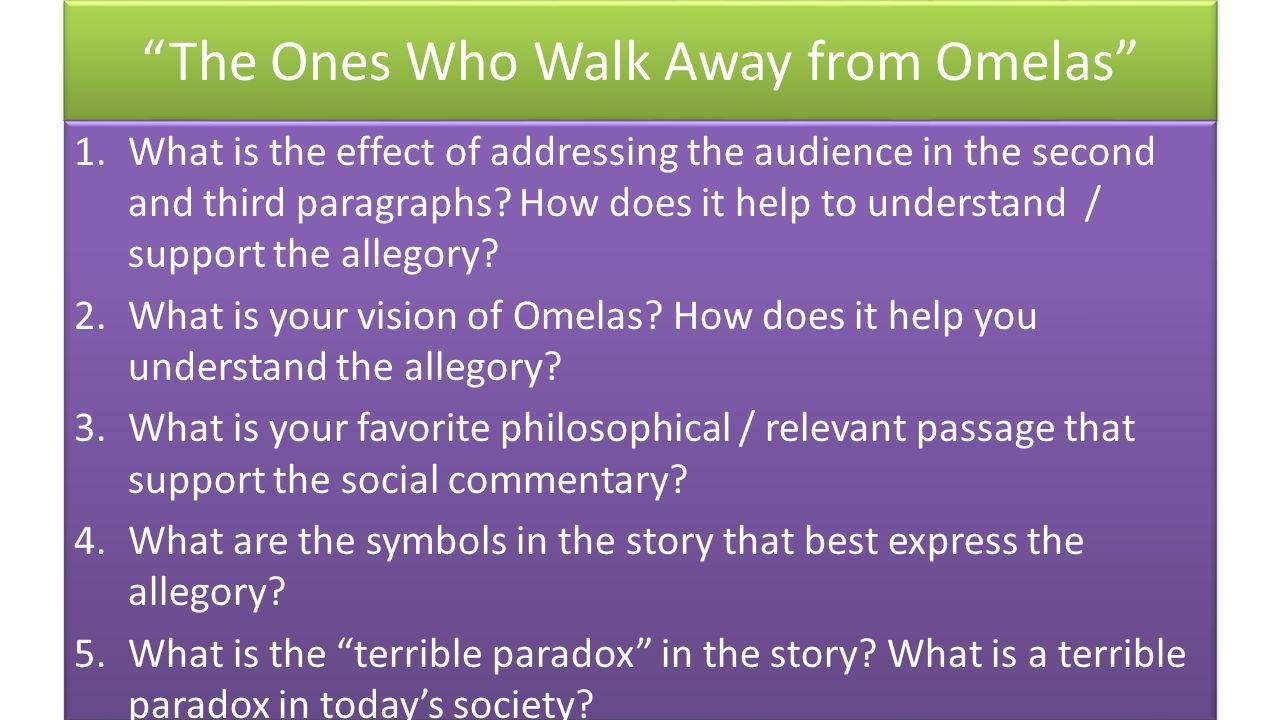 literary analysis the ones who walk An essay should be the development of argument, interpretation and analysis through  some people find that a plan or outline will consist of eight to ten words only  again you will discover which method works for you as you go along.