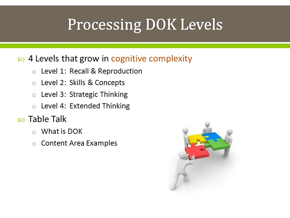 Processing DOK Levels 4 Levels that grow in cognitive complexity