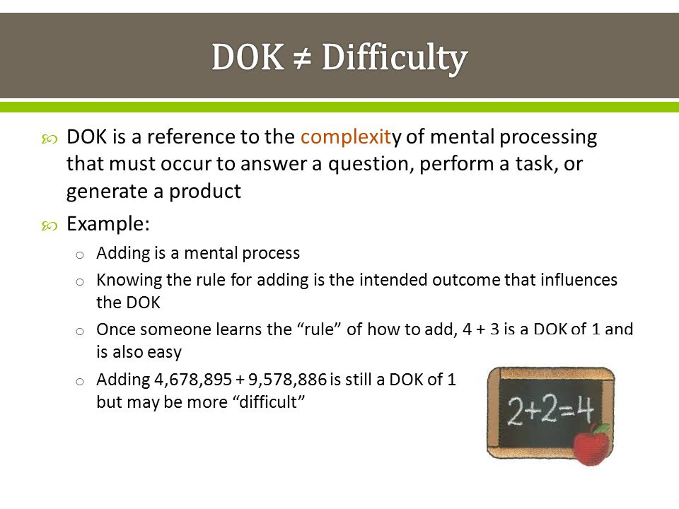 DOK ≠ Difficulty