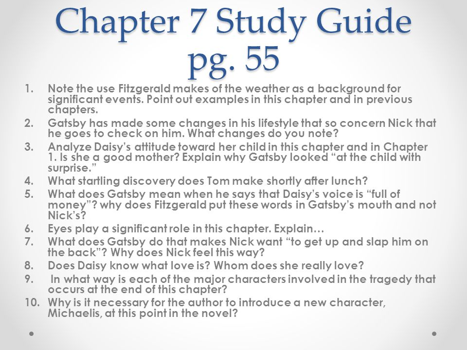 gatsby study guide questions chapter 9 Study 5 the great gatsby study guide chapter 8 flashcards from shley s on studyblue.