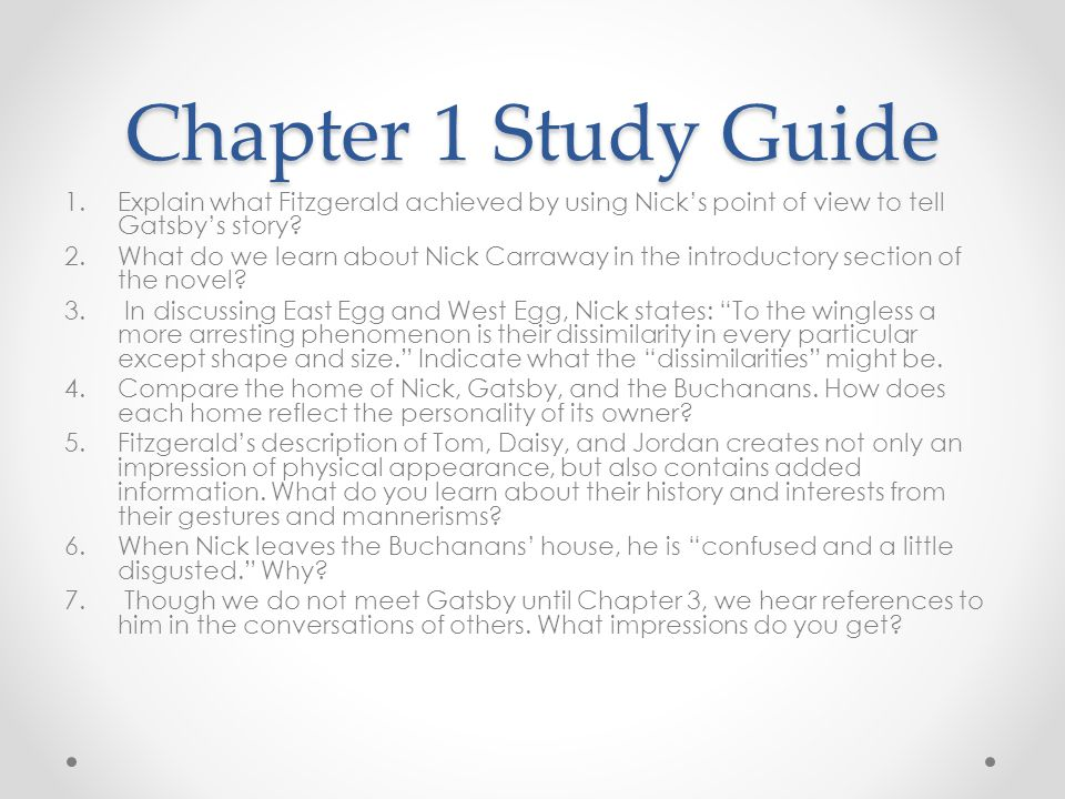 great gatsby essay questions chapter Sample student essays on the great gatsby (protected by turnitincom) unearthing an inner meaning in the final lines of the great gatsby chapter, gatsby.